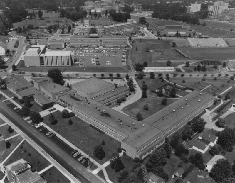 University School aerial photo from 1960s