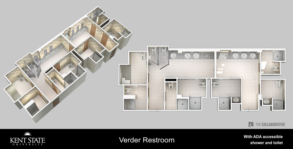 Verder restroom with ADA accessible shower and toilet diagram