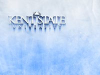 The Kent State University logo iced over on a chilly blue background