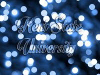 'Kent State University' embossed on a blue sparkly background